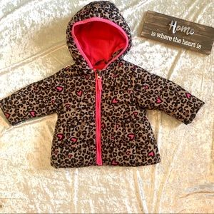 Girls Leopard Print Puffer Coat